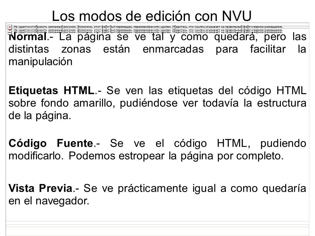 Los modos de edición con NVU Normal.- La página se ve tal y como quedará, pero las distintas zonas están enmarcadas para facilitar la manipulación Eti