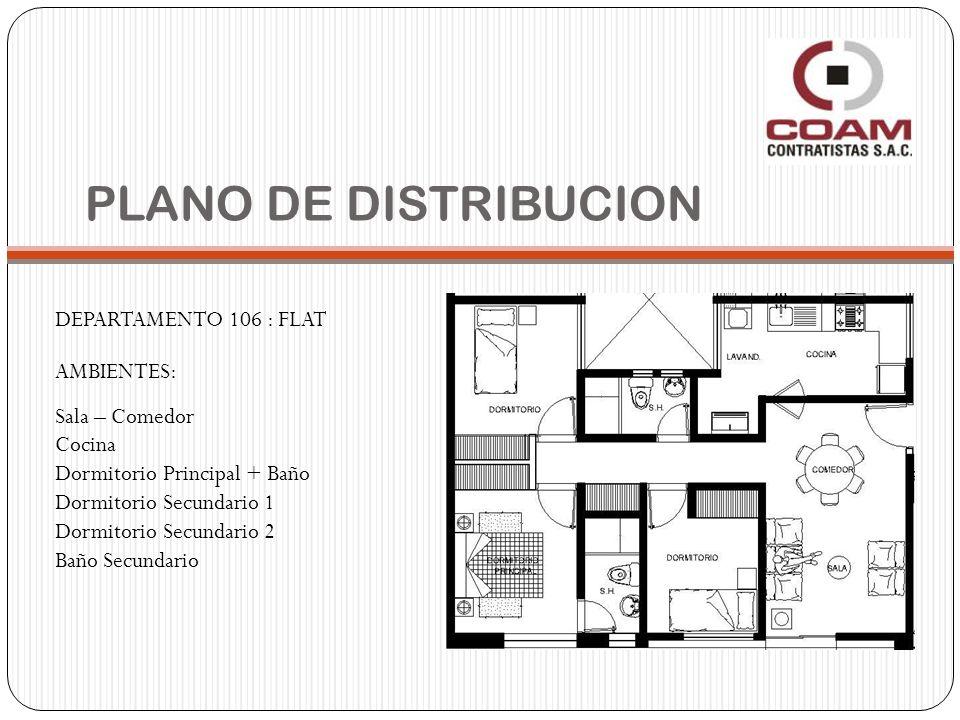 PLANO DE DISTRIBUCION DEPARTAMENTO 106 : FLAT AMBIENTES: Sala – Comedor Cocina Dormitorio Principal + Baño Dormitorio Secundario 1 Dormitorio Secundar