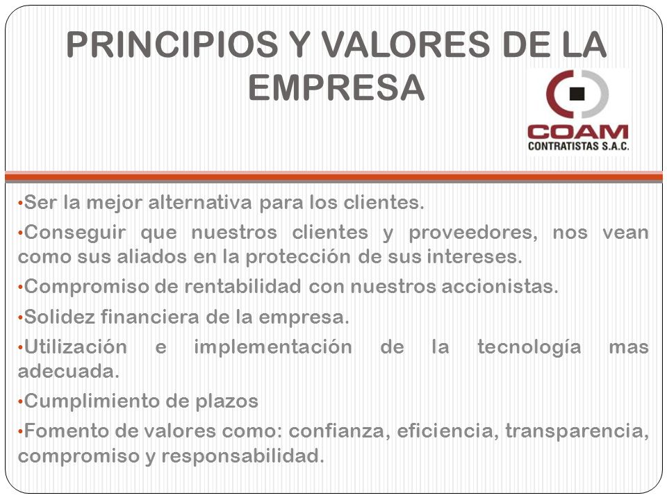 PRINCIPIOS Y VALORES DE LA EMPRESA Ser la mejor alternativa para los clientes. Conseguir que nuestros clientes y proveedores, nos vean como sus aliado