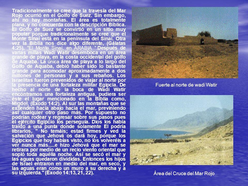 Tradicionalmente se cree que la travesía del Mar Rojo ocurrió en el Golfo de Suez. Sin embargo, ahí no hay montañas. El área es totalmente plana, y no