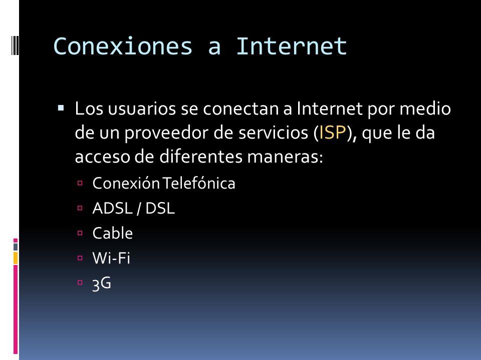 Conexiones a Internet Los usuarios se conectan a Internet por medio de un proveedor de servicios (ISP), que le da acceso de diferentes maneras: Conexi