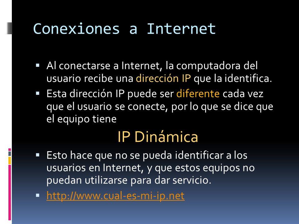 Conexiones a Internet Al conectarse a Internet, la computadora del usuario recibe una dirección IP que la identifica. Esta dirección IP puede ser dife