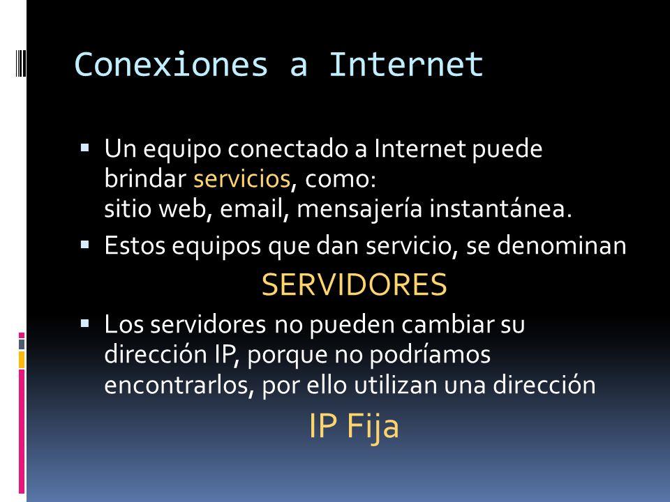 Conexiones a Internet Un equipo conectado a Internet puede brindar servicios, como: sitio web, email, mensajería instantánea. Estos equipos que dan se
