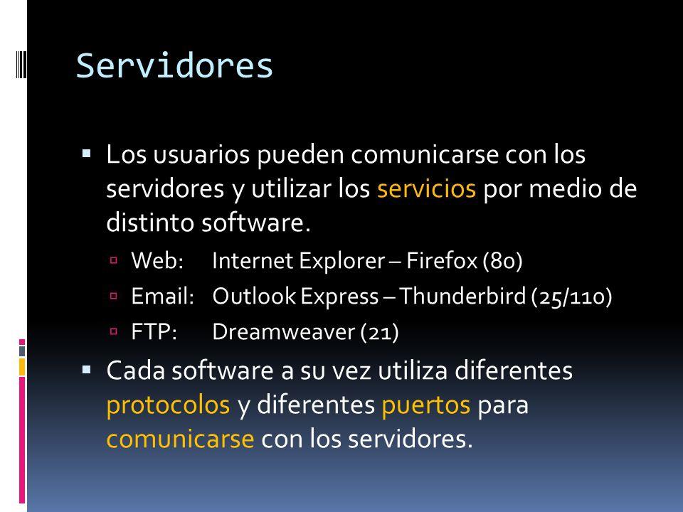 Servidores Los usuarios pueden comunicarse con los servidores y utilizar los servicios por medio de distinto software. Web: Internet Explorer – Firefo