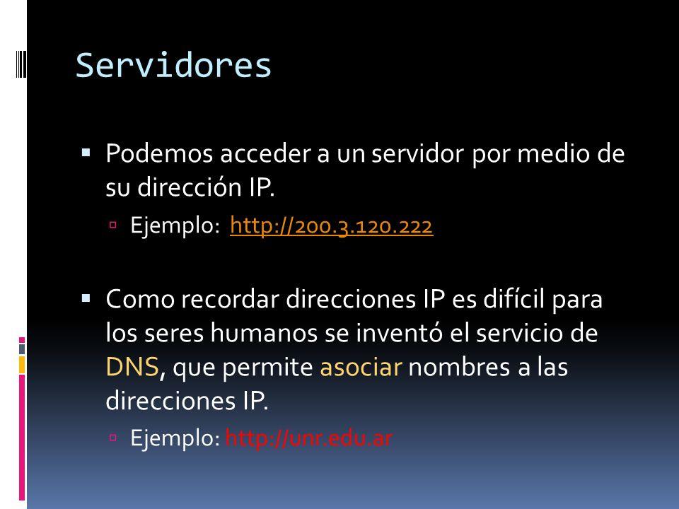 Servidores Podemos acceder a un servidor por medio de su dirección IP. Ejemplo: http://200.3.120.222http://200.3.120.222 Como recordar direcciones IP