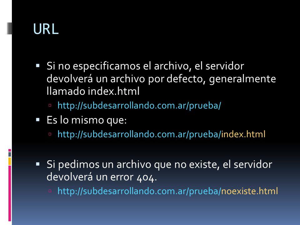 URL Si no especificamos el archivo, el servidor devolverá un archivo por defecto, generalmente llamado index.html http://subdesarrollando.com.ar/prueb