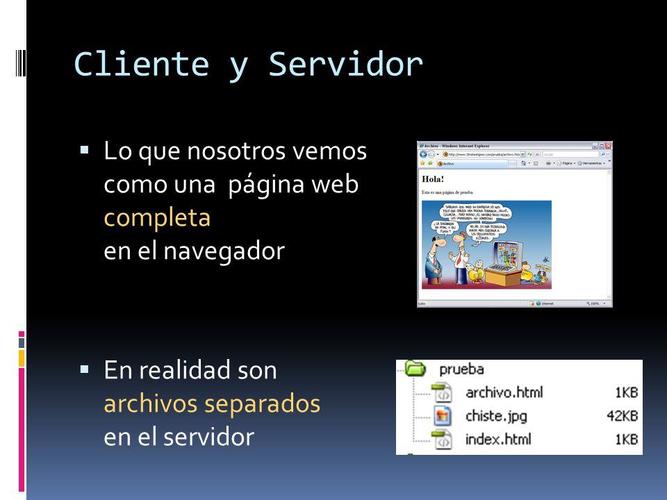 Lo que nosotros vemos como una página web completa en el navegador En realidad son archivos separados en el servidor
