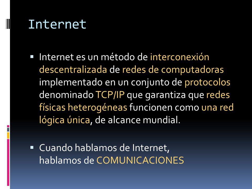Internet Internet es un método de interconexión descentralizada de redes de computadoras implementado en un conjunto de protocolos denominado TCP/IP q