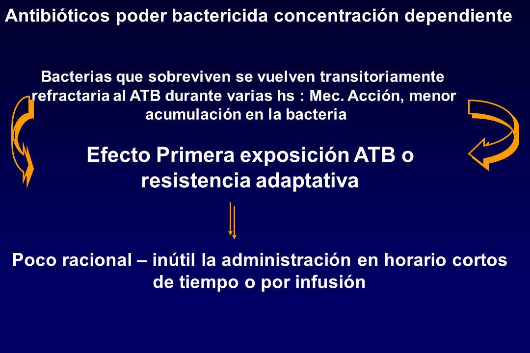 Antibióticos poder bactericida concentración dependiente Efecto Primera exposición ATB o resistencia adaptativa Bacterias que sobreviven se vuelven tr