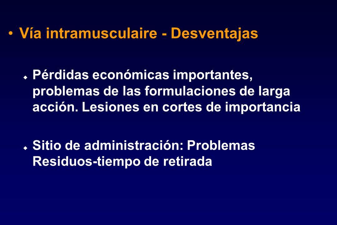 Vía intramusculaire - Desventajas u Pérdidas económicas importantes, problemas de las formulaciones de larga acción. Lesiones en cortes de importancia