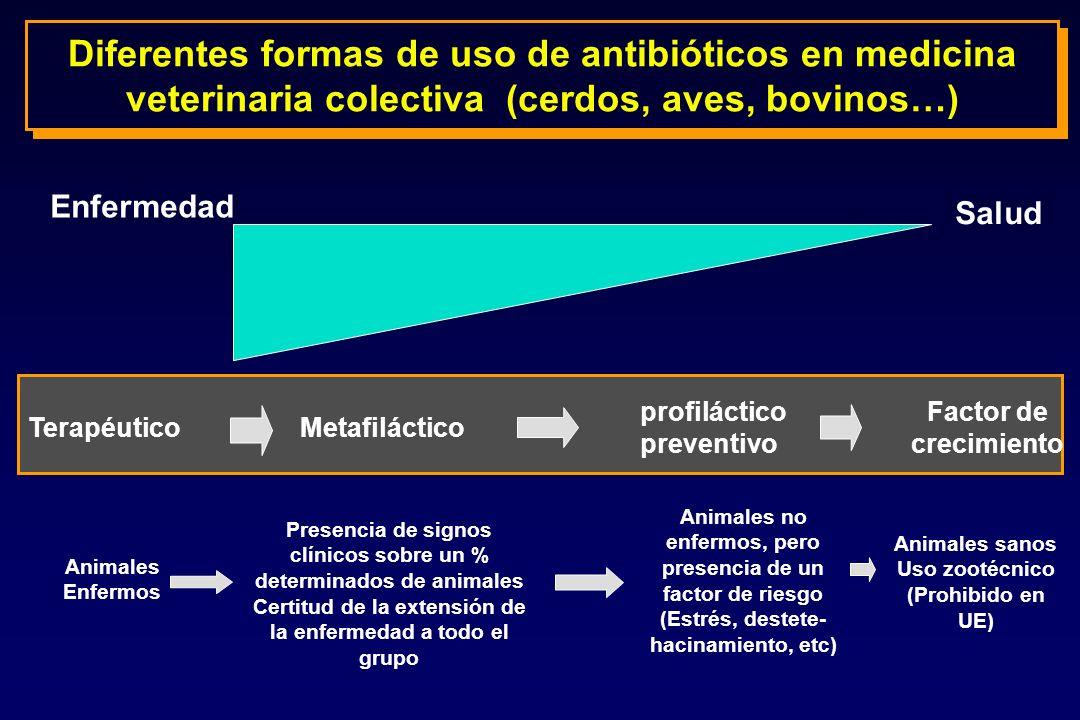 Enfermedad Salud TerapéuticoMetafiláctico profiláctico preventivo Factor de crecimiento Animales Enfermos Presencia de signos clínicos sobre un % dete