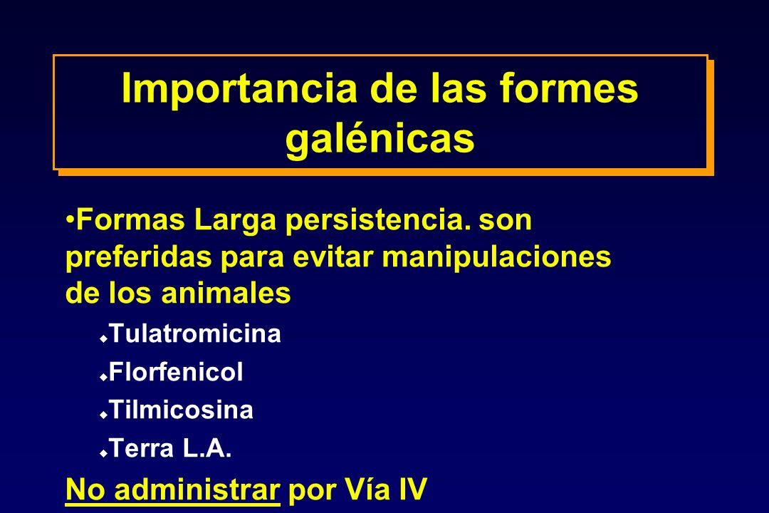 Importancia de las formes galénicas Formas Larga persistencia. son preferidas para evitar manipulaciones de los animales u Tulatromicina u Florfenicol
