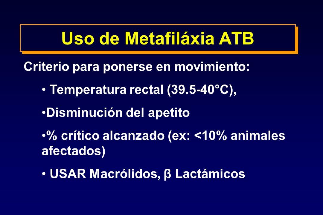Uso de Metafiláxia ATB Criterio para ponerse en movimiento: Temperatura rectal (39.5-40°C), Disminución del apetito % crítico alcanzado (ex: <10% anim