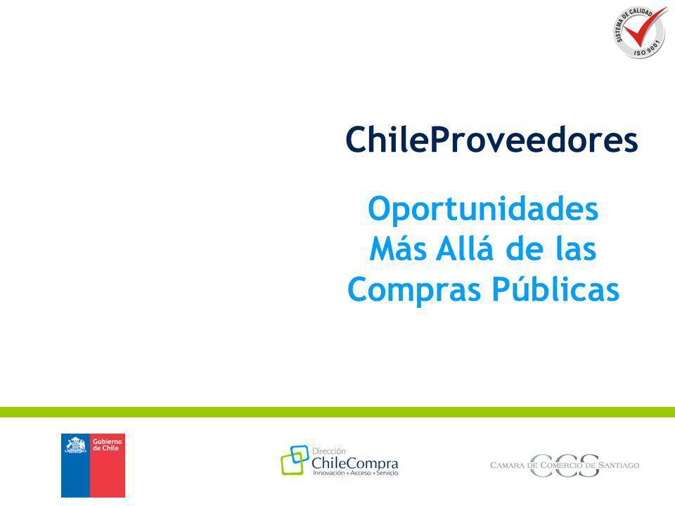 ChileProveedores en Cifras Más de 43.000 Proveedores en Vigentes en el Registro Más de 20.000 Proveedores en Directorio Empresarial Sobre 100.000 visitantes promedio mensual Más 8.000 sitios Web (URL) creados Más de 7.500 Productos Creados Sobre 1.000 Noticias y Avisos de Negocios publicados Perfil Empresas: - Tamaño: 3% Grande, 35% Pyme y 62% Micro Empresa