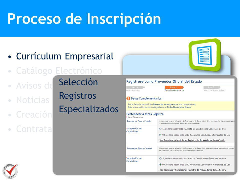 Currículum Empresarial Catálogo Electrónico Avisos de Negocios Noticias Creación de Sitio Web Contratación Datos Generales Contactos Comerciales Descr
