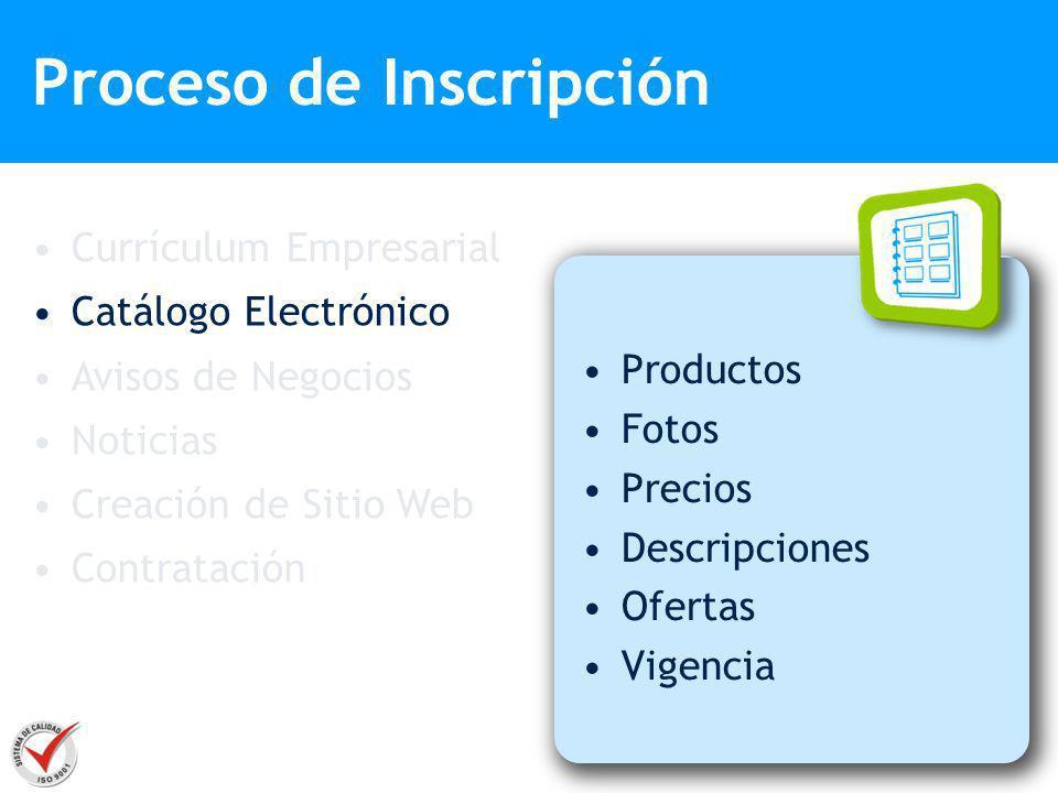 Proceso de Inscripción Productos Fotos Precios Descripciones Ofertas Vigencia Currículum Empresarial Catálogo Electrónico Avisos de Negocios Noticias
