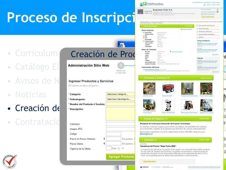 Proceso de Inscripción Currículum Empresarial Catálogo Electrónico Avisos de Negocios Noticias Creación de Sitio Web Contratación www.chpvitrina.cl/mi
