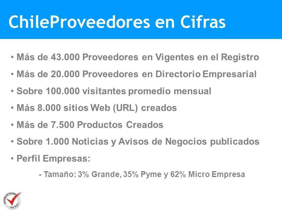 ChileProveedores en Cifras Más de 43.000 Proveedores en Vigentes en el Registro Más de 20.000 Proveedores en Directorio Empresarial Sobre 100.000 visi