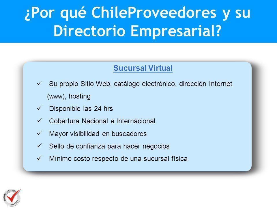 Sucursal Virtual Su propio Sitio Web, catálogo electrónico, dirección Internet ( www ), hosting Disponible las 24 hrs Cobertura Nacional e Internacion
