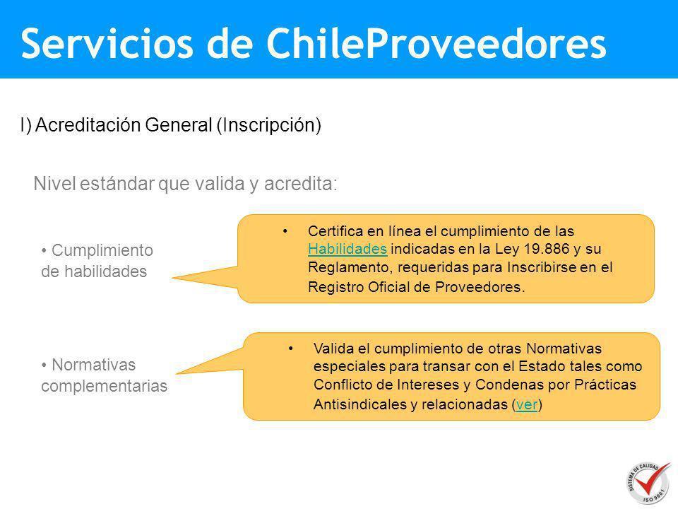 Nivel estándar que valida y acredita: Cumplimiento de habilidades I) Acreditación General (Inscripción) Normativas complementarias Certifica en línea