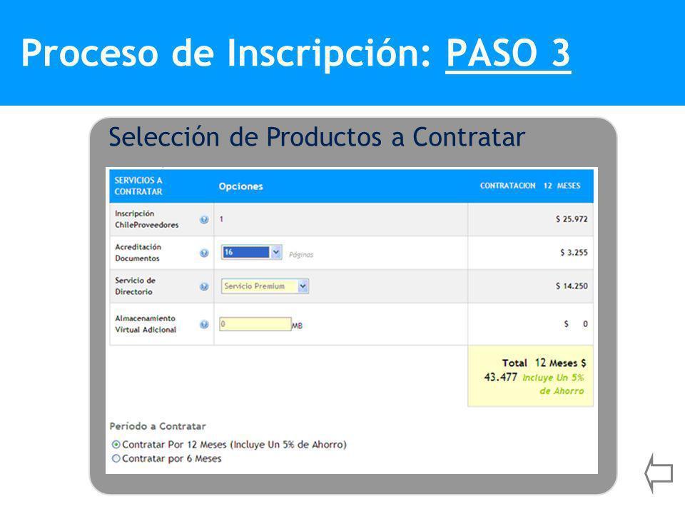 Proceso de Inscripción: PASO 3 Selección de Productos a Contratar