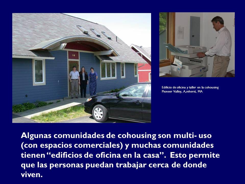 Algunas comunidades de cohousing son multi- uso (con espacios comerciales) y muchas comunidades tienen edificios de oficina en la casa.