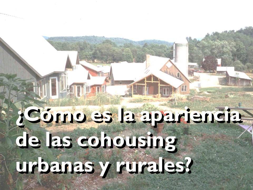 ¿Cómo es la apariencia de las cohousing urbanas y rurales?