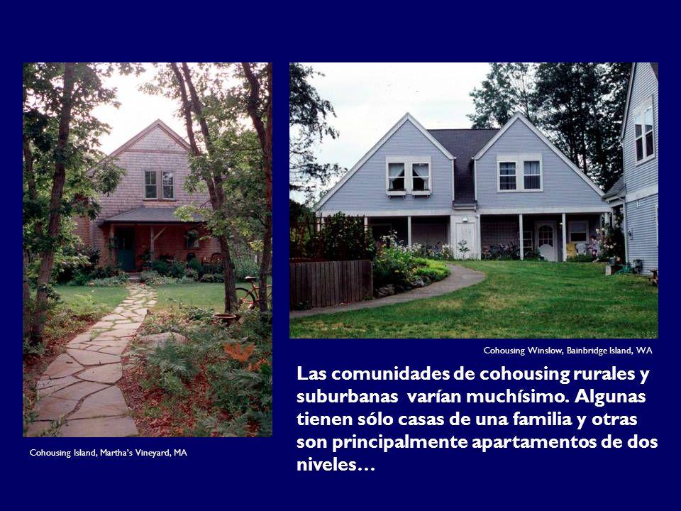 Las comunidades de cohousing rurales y suburbanas varían muchísimo. Algunas tienen sólo casas de una familia y otras son principalmente apartamentos d