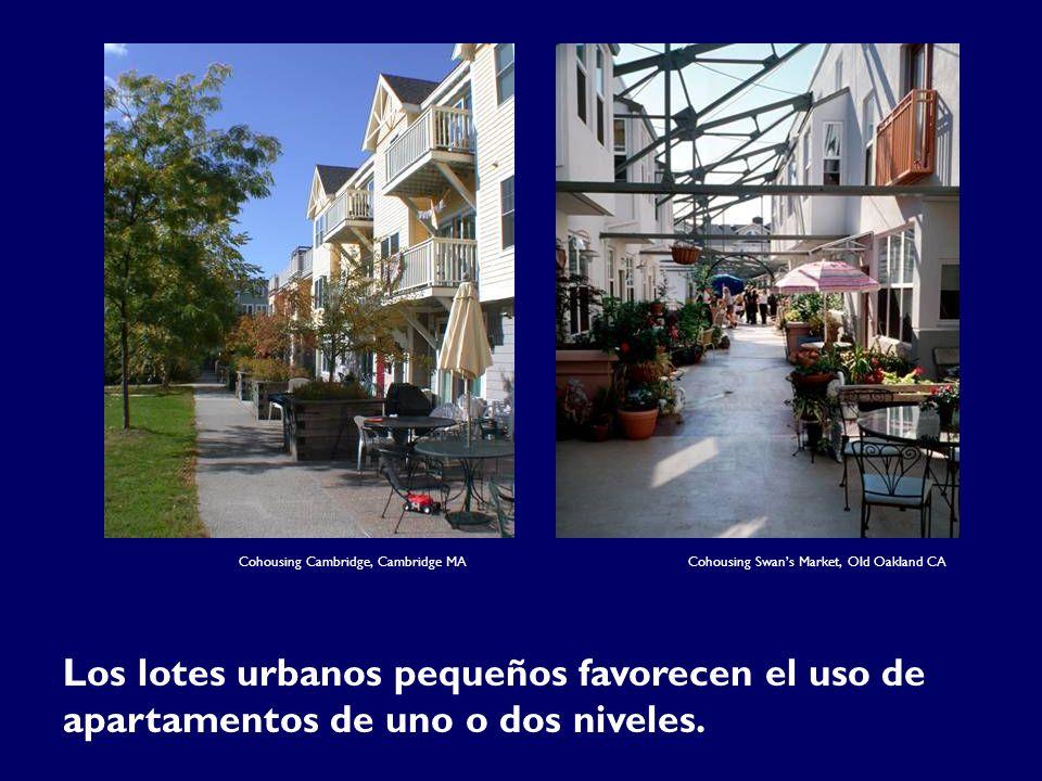 Cohousing Cambridge, Cambridge MA Los lotes urbanos pequeños favorecen el uso de apartamentos de uno o dos niveles.