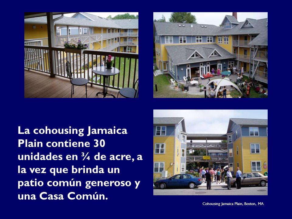 La cohousing Jamaica Plain contiene 30 unidades en ¾ de acre, a la vez que brinda un patio común generoso y una Casa Común. Cohousing Jamaica Plain, B