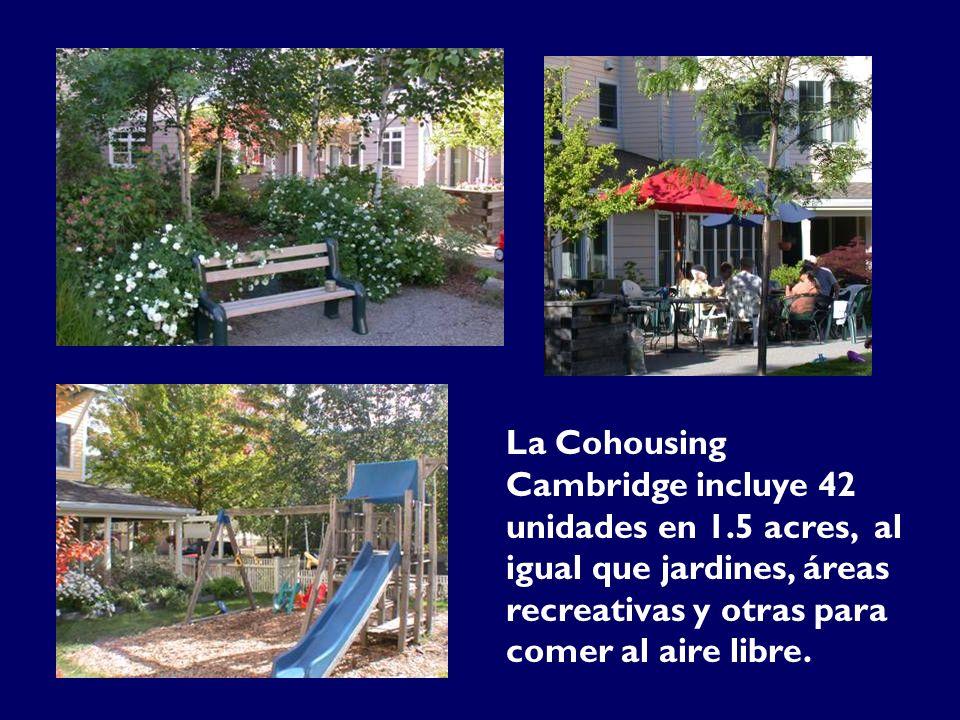 La Cohousing Cambridge incluye 42 unidades en 1.5 acres, al igual que jardines, áreas recreativas y otras para comer al aire libre.