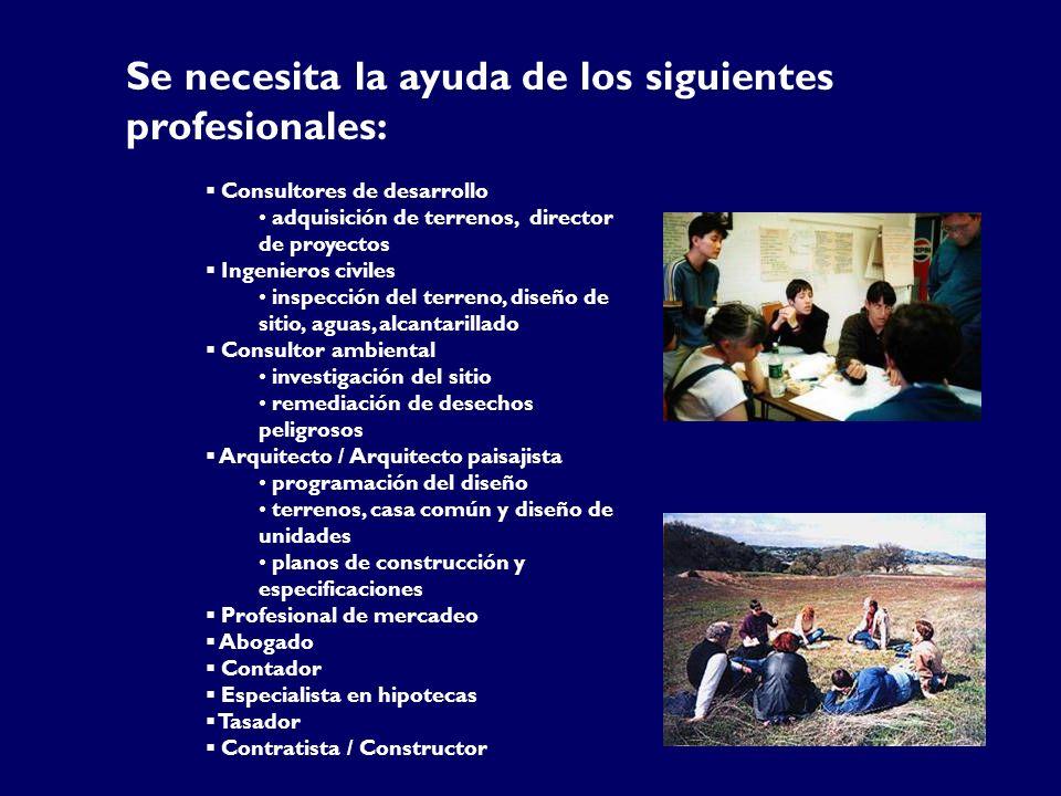Se necesita la ayuda de los siguientes profesionales: Consultores de desarrollo adquisición de terrenos, director de proyectos Ingenieros civiles insp