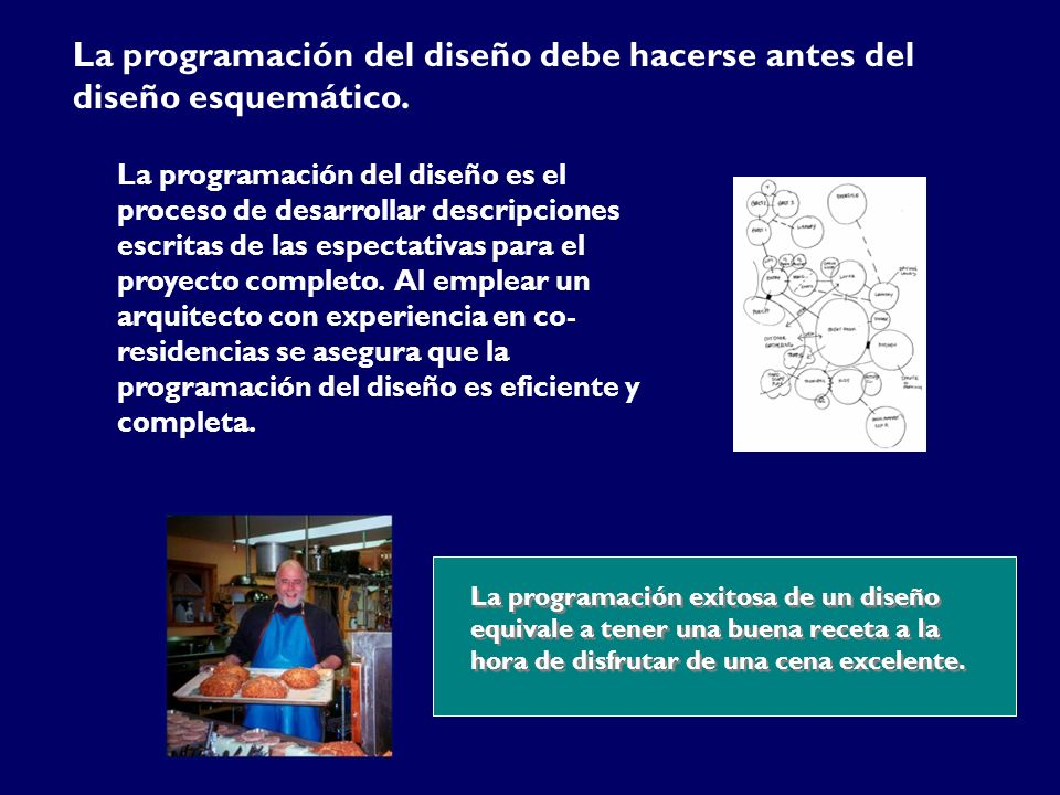La programación del diseño debe hacerse antes del diseño esquemático. La programación del diseño es el proceso de desarrollar descripciones escritas d