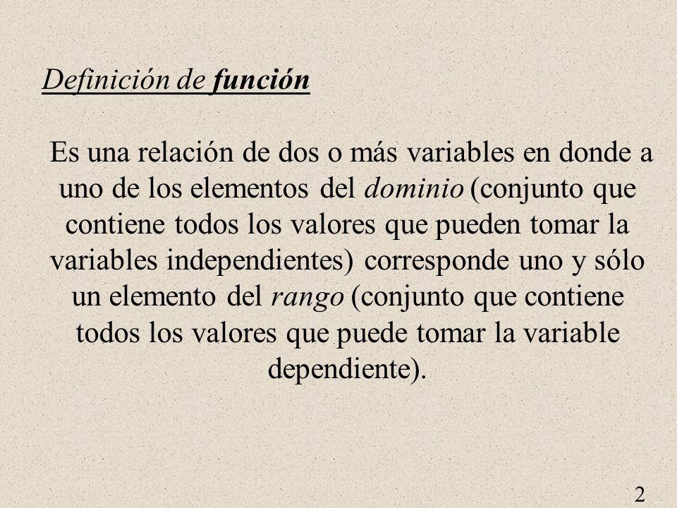 2 Definición de función Es una relación de dos o más variables en donde a uno de los elementos del dominio (conjunto que contiene todos los valores que pueden tomar la variables independientes) corresponde uno y sólo un elemento del rango (conjunto que contiene todos los valores que puede tomar la variable dependiente).