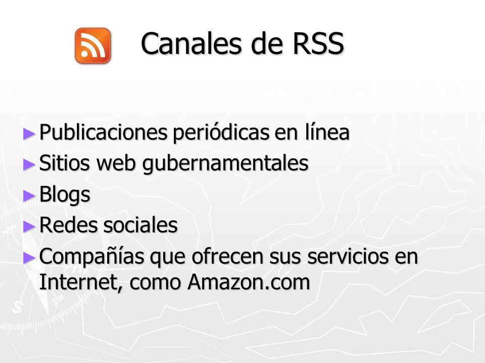 Canales de RSS Publicaciones periódicas en línea Publicaciones periódicas en línea Sitios web gubernamentales Sitios web gubernamentales Blogs Blogs Redes sociales Redes sociales Compañías que ofrecen sus servicios en Internet, como Amazon.com Compañías que ofrecen sus servicios en Internet, como Amazon.com