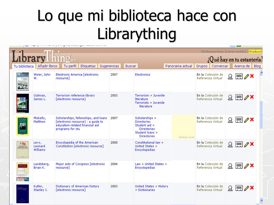 Lo que mi biblioteca hace con Librarything