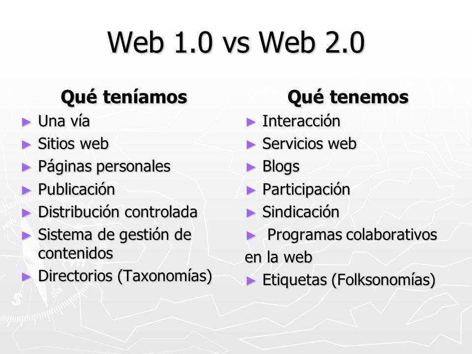 Web 1.0 vs Web 2.0 Qué teníamos Una vía Una vía Sitios web Sitios web Páginas personales Páginas personales Publicación Publicación Distribución contr