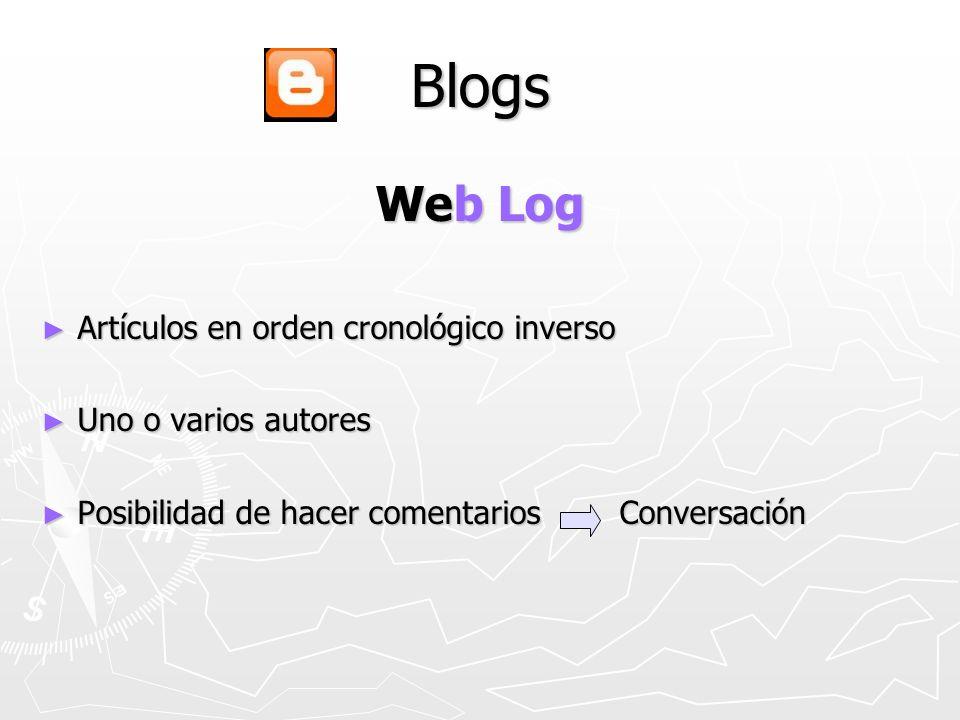 Blogs Web Log Artículos en orden cronológico inverso Artículos en orden cronológico inverso Uno o varios autores Uno o varios autores Posibilidad de hacer comentarios Conversación Posibilidad de hacer comentarios Conversación