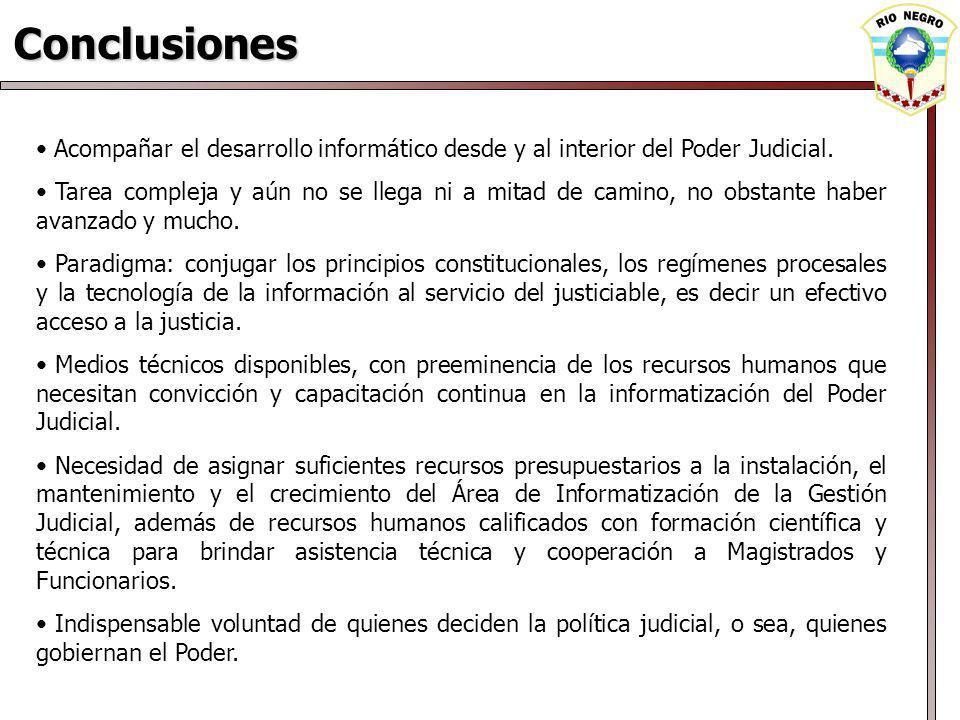 Conclusiones Acompañar el desarrollo informático desde y al interior del Poder Judicial.