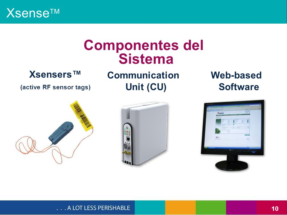 10 Xsense Componentes del Sistema Communication Unit (CU) Xsensers (active RF sensor tags) Web-based Software