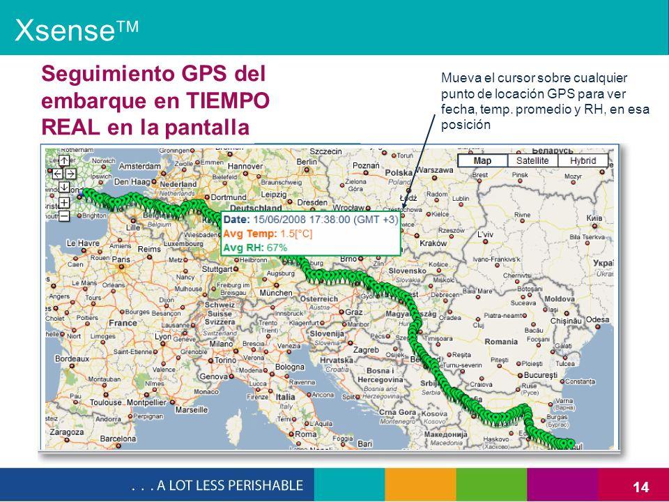 14 Seguimiento GPS del embarque en TIEMPO REAL en la pantalla Mueva el cursor sobre cualquier punto de locación GPS para ver fecha, temp. promedio y R