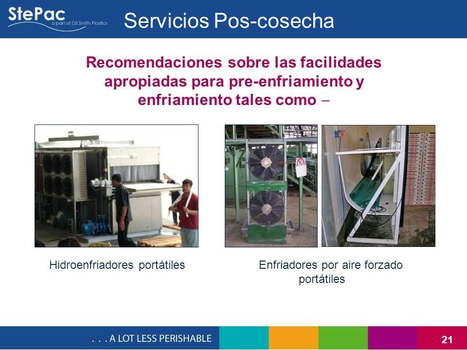 21 Recomendaciones sobre las facilidades apropiadas para pre-enfriamiento y enfriamiento tales como Hidroenfriadores portátilesEnfriadores por aire fo