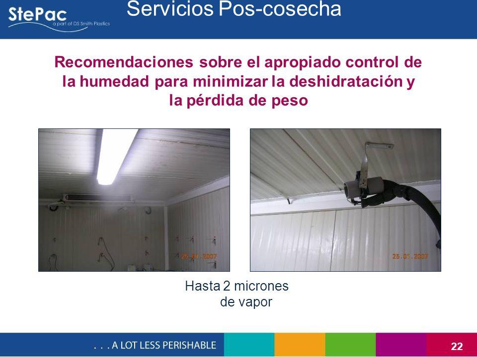 22 Recomendaciones sobre el apropiado control de la humedad para minimizar la deshidratación y la pérdida de peso Hasta 2 micrones de vapor Servicios