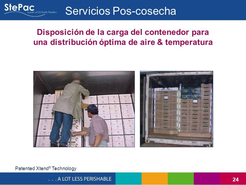 24 Disposición de la carga del contenedor para una distribución óptima de aire & temperatura Servicios Pos-cosecha Patented Xtend ® Technology