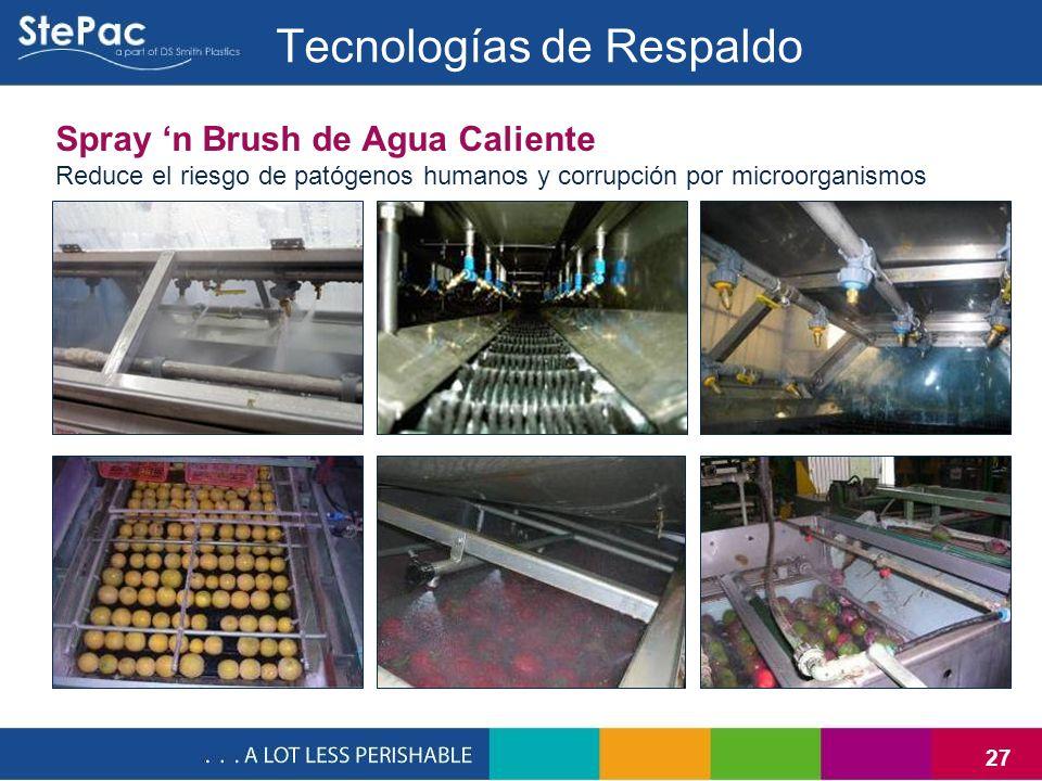 27 Tecnologías de Respaldo Spray n Brush de Agua Caliente Reduce el riesgo de patógenos humanos y corrupción por microorganismos