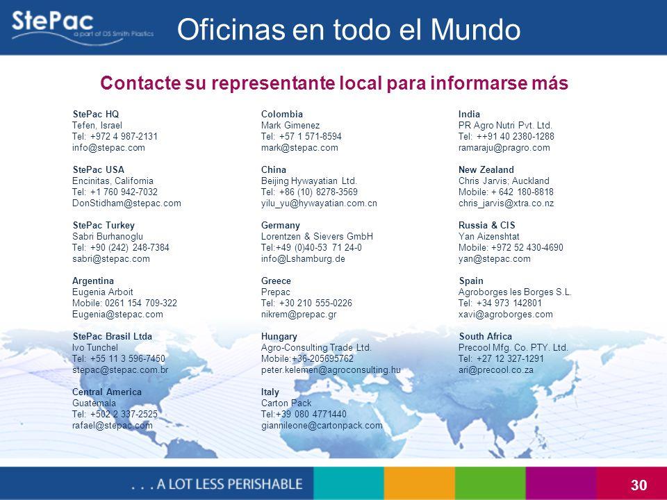30 Contacte su representante local para informarse más Oficinas en todo el Mundo StePac HQ Tefen, Israel Tel: +972 4 987-2131 info@stepac.com StePac U