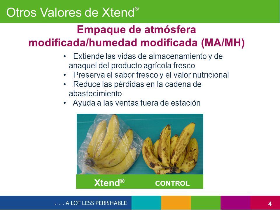 4 Extiende las vidas de almacenamiento y de anaquel del producto agrícola fresco Preserva el sabor fresco y el valor nutricional Reduce las pérdidas e