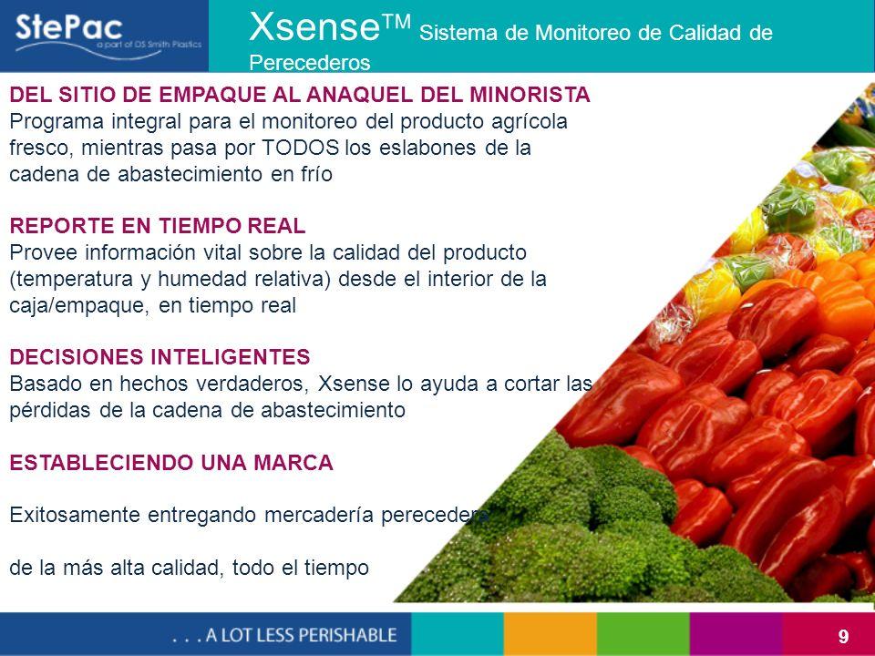 9 Xsense Sistema de Monitoreo de Calidad de Perecederos DEL SITIO DE EMPAQUE AL ANAQUEL DEL MINORISTA Programa integral para el monitoreo del producto