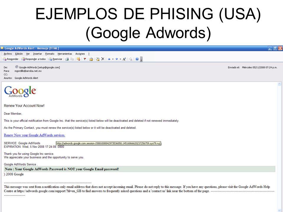 EJEMPLOS DE PHISING (USA) (Google Adwords)