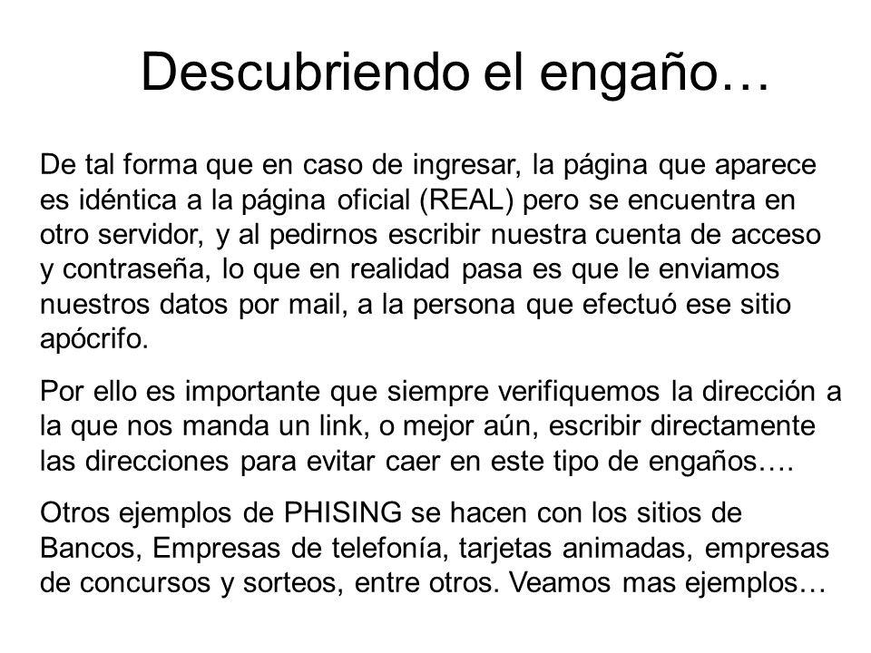 Que hacer en caso de recibir un mensaje de PHISING.